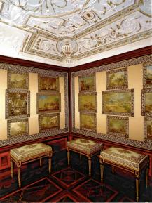 Vista de la Saleta de los cuadros bordados de Robredo, de la Casita de campo del Príncipe en el Escorial.