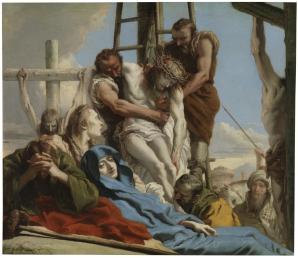 Giandomenico Tiepolo: El descendimiento. 1780. Museo del Prado. Procedente del convento de San Felipe Neri en Madrid.