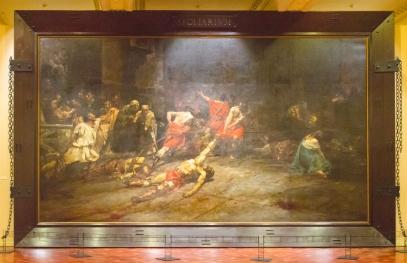 J. Luna: Spoliarium con su marco original tal como se puede ver en el Museo Nacional de Filipinas.
