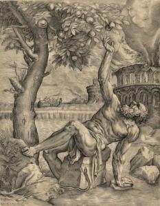 Tántalo. Giulio Sanuto (según Tiziano). Grabado, 1565. Budapest, Szépművészeti Múzeum