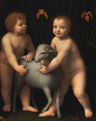 Bernardino Luini: El Niño Jesús, San Juanito y el cordero. National Gallery of Ottawa.