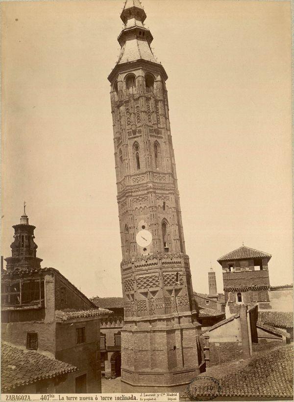 J. Laurent: La Torre Nueva, derribada en 1892 por decisión del Ayuntamiento de Zaragoza. Fondo IPHE.