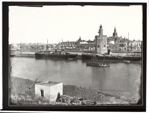 J. Laurent: Vista de la Torre del Oro desde Triana. Fondo IPHE.