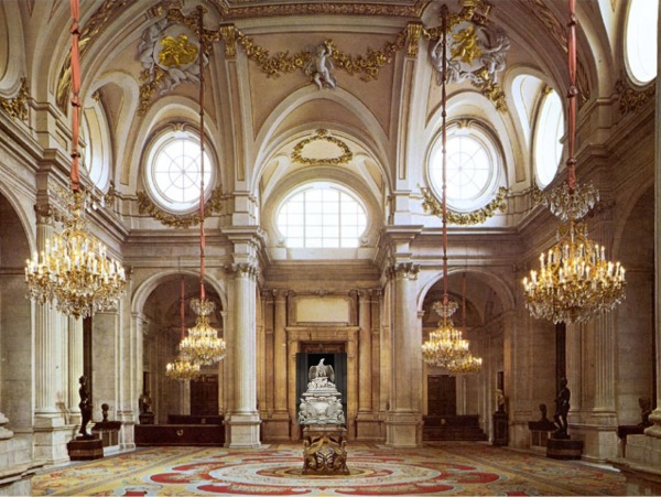 Recreación del aspecto de la Apoteosis de Claudio en el Salón de Columnas del Palacio Real de Madrid.