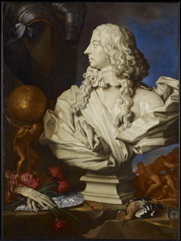Francesco Stringa, atribuído a: Naturaleza muerta alegórica con el busto Bernini de Francesco I d'Este. Minneapolis Institute of Art.