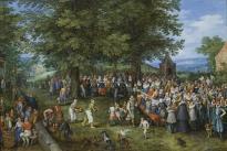 Jan Brugeghel el viejo: Banquete de bodas presidido por los Archiduques. Madrid, Museo Nacional del Prado.
