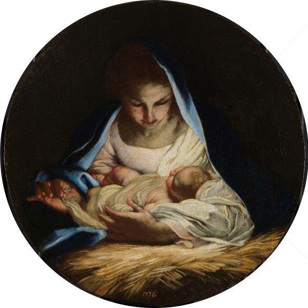 Carlo Maratti: La Virgen poniendo al niño dormido sobre la paja. Madrid, Museo Nacional del Prado.