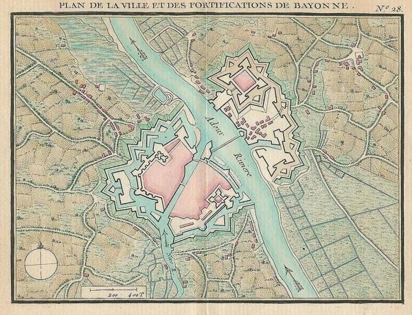 Plano de la ciudad de Bayona en el siglo XVII.