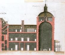 Caro Idrogo y Marchand: Sección longitudinal del Palacio de Aranjuez, 1728.
