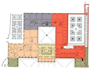 Estado actual de la planta del Palacio de Aranjuez, marcado en rojo es la parte construída hasta el siglo XVIII.