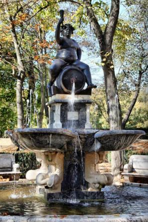 Fuente de Baco, con la escultura de Jacobo Jonghelinck. Jardín de la Isla, Aranjuez.