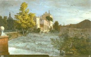 Michel-Ange Houasse: El Palacio de Aranjuez y la ria desde el Jardín de la Isla, 1720-1724. Madrid, Patrimonio Nacional.