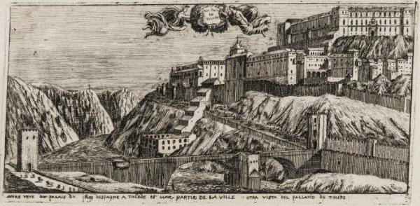 Vista del Alcázar de Toledo en el siglo XVII. Madrid, Biblioteca Nacional de España.