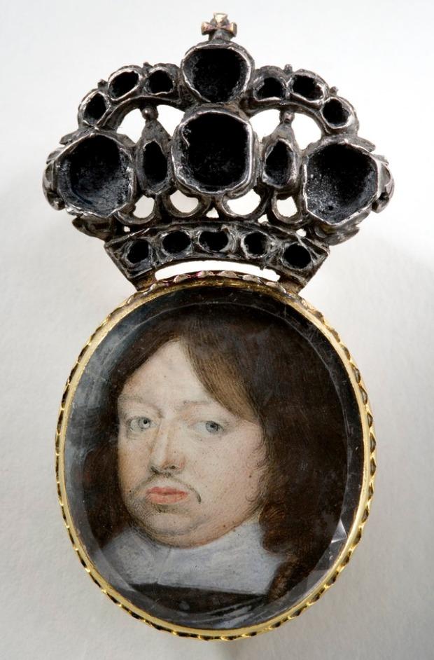Anónimo: Miniatura de Carlos X Gustavo de Suecia, designado heredero por Cristina de Suecia.