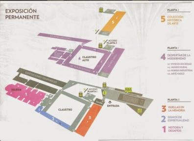 Plano de salas del Museo San Telmo, marcado en amarillo la zona dedicada a la colección histórica.