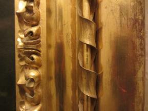 Detalle de la barra cubierta de cinta cruzada del marco tipo Carlos IV príncipe.