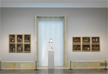 Vista de la disposición de los bodegones de Meléndez en el Museo del Prado, todos con el mismo tipo de marco.
