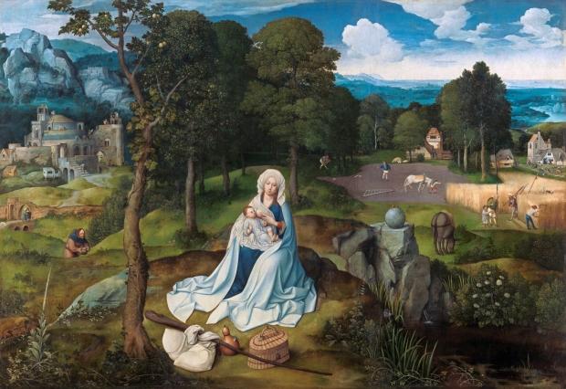 Joachim Patinir: Descanso en la huida a Egipto, 1518-1520. Museo Nacional del Prado, Madrid.