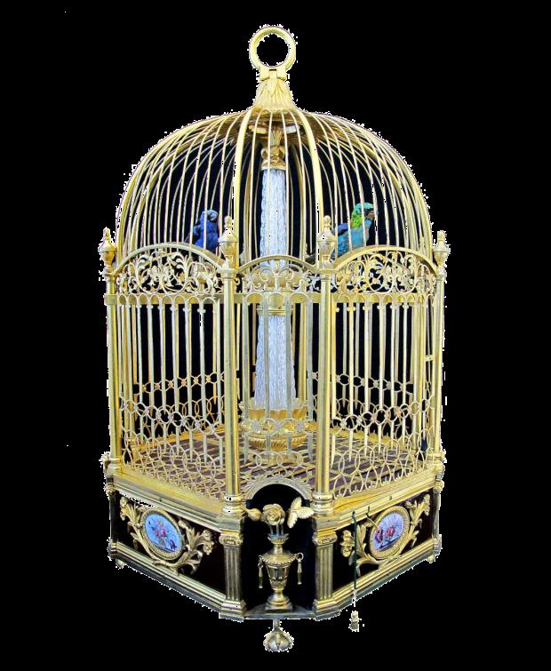 Jaque-Drotz: Reloj jaula con pájaros autómatas. Foto y video: http://galeriedesmerveilles.jaquet-droz.com/es/p%C3%A1jaros-cantores/singing-bird-cage