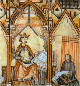 Alfonso X en el Prólogo del Códice Rico de las Cantigas de Santa María.