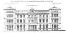 Plano para la fachada principal de la Escuela de Ingenieros de Caminos