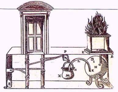 Ilustración del libro Neumática. El esquema muestra una serie de tubos y cuerdas que se encargan de provocar el efecto sifón de un sistema que funciona como una turbina de vapor.
