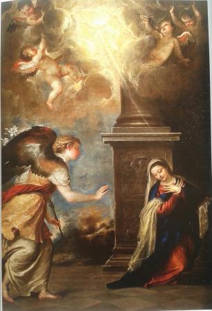 Luca Giordano: Anunciación (copia de Tiziano). Iglesia de San Ginés. Madrid.
