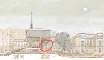 Foster y Rubio: Proyecto ganador para reforma del Salón de Reinos. Señalado con un círculo rojo el lugar que ocupa sala árabe. Foto: Museo del Prado.