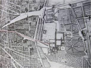 Primera parte del Itinerario de la entrada de Mariana de Austria en la planimetria de Madrid de Pedro de Texeira.