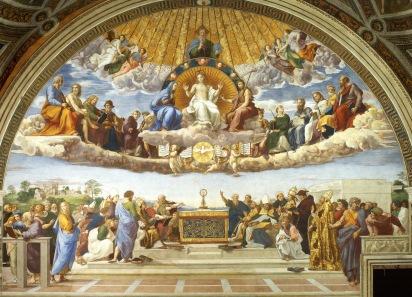 Rafael. Disputa del Sacramento. Stanza de la signatura. Palacios Vaticanos. Foto: wikipedia.