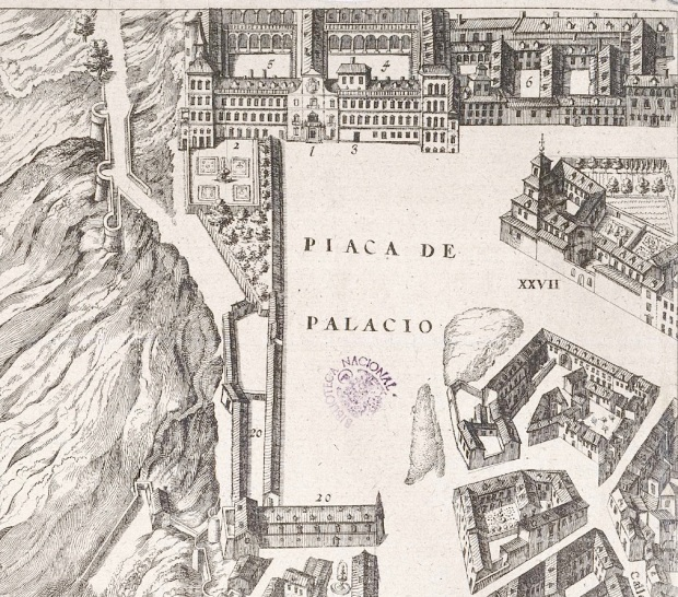 Punto Final del recorrido: Plaza del Alcázar de Madrid según la planimetría de Pedro de Texeira.