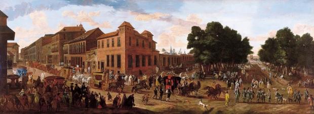 Juan Van Kessel III: Vista del Prado y la carrera de San Jerónimo con un cortejo. Madrid, Museo Thyssen Bornemisza.