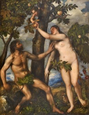 Tiziano: Adán y Eva. Madrid, Museo Nacional del Prado.
