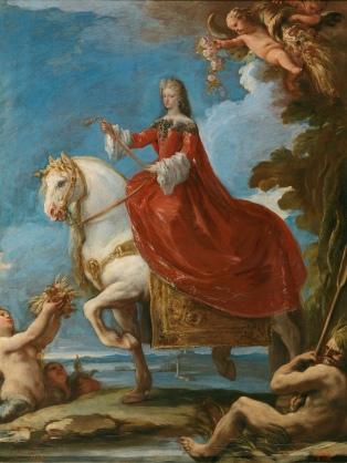 Luca Giordano: Mariana de Neoburgo a caballo. Madrid, Museo Nacional del Prado.