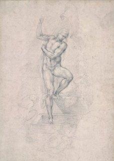 Miguel Ángel: Cristo resucitado saliendo de tu tumba, recto. Londres, British Museum, nº inv. 1887,0502.119.
