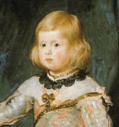 Diego Velázquez: Detalle del retrato de la infanta Margarita vestida de rosa. Viena, Kunsthistorisches Museum.