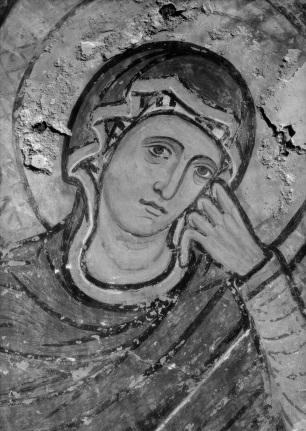 Detalle de la Virgen en una de las pinturas de Sijena. Foto: Instituto Amatller.