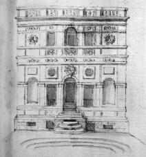 Plautilla Bricci: Proyecto para el lado septentrional de Villa Benedetti. Roma Archivio di Stato.