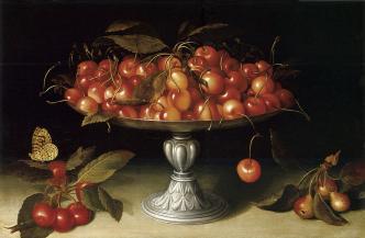 Fede Galizia. Bodegón de cerezas sobre bandeja con pie de plata y mariposa. Foto: wikicommons