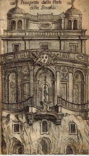 Elpidio Benedetti: Dibujo de la Guía de Elpidio Benedetti de la fachada de la calle. 1676.