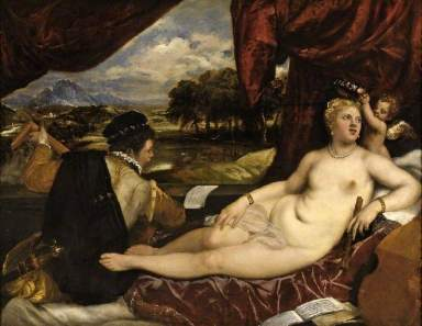 Tiziano: Venus y cupido con un laudista. (c) The Fitzwilliam Museum; Supplied by The Public Catalogue Foundation