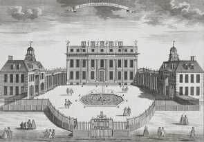 Buckingham House. ca. 1710, tal y como lo diseñó William Winde para el primer duque de Buckingham. foto: wikipedia.