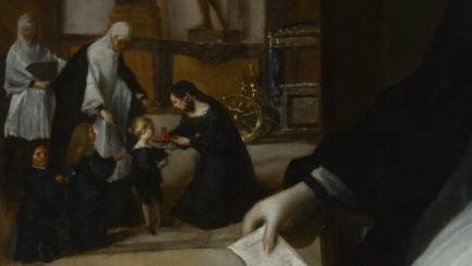 Juan Bautista Martínez del Mazo: Detalle del retrato de Mariana de Austria como reina regente. Londres, National Gallery.
