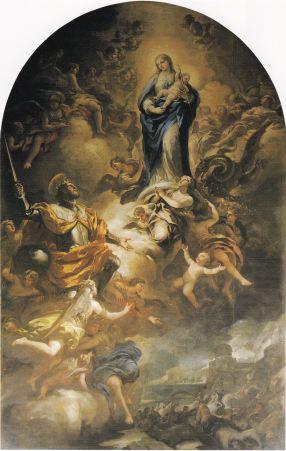 Comparativa - Luca Giordano: San Fernando ante la Virgen. Madrid, Museo de Historia de Madrid.