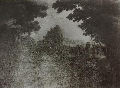 Matías Jimeno: Paisaje con montaña y río. Antiguo cat. Prado nº 2249.