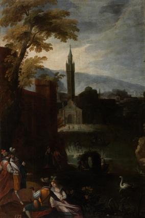 Matías Jimeno: Paisaje con palacio y atalaya. Madrid, Museo Nacional del Prado.