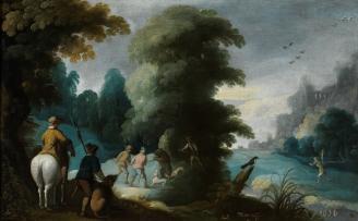 Matías Jimeno: Paisaje montañoso con la caza del oso. Madrid, Museo Nacional del Prado.