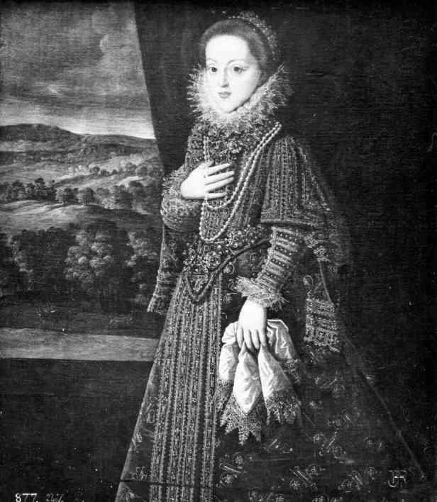 Bartolomé González: Retrato de Gregoria Maximiliana, prometida de Felipe III. Depositado por R.O en la Embajada de España en Lisboa en 1919. Desaparecido.