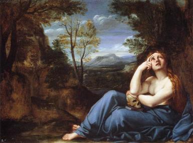 Annibale Carracci. Magdalena en un paisaje. Gallería Doria-Panphilj. Roma.