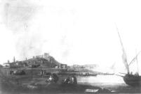 Mariano Sánchez: Vista del castillo de Denia. Depósito del Patrimonio Nacional en la Embajada de España en Lisboa. Desaparecido.
